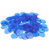 "7/8"" Blue Plastic Bingo Chips,"