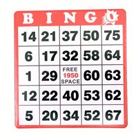 Hard Bingo Cards - Red - 100 per pack - SKU B007341