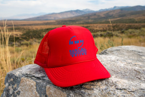 Ruby Mountain Heli-Ski Red Trucker Hat with Blue Blade Logo