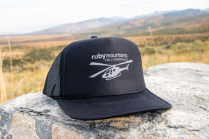 Ruby Mountain Heli-Ski Black Heli logo Trucker hat