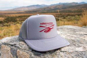 Ruby Mountain Heli-Ski Grey Heli Logo Trucker Hat