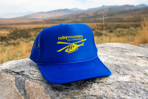 Ruby Mountain Heli-Ski Blue Trucker Hat with Heli Logo