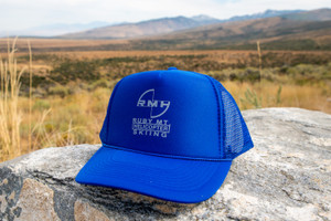 Ruby Mountain Heli-Ski Blue Trucker Hat with Grey Logo