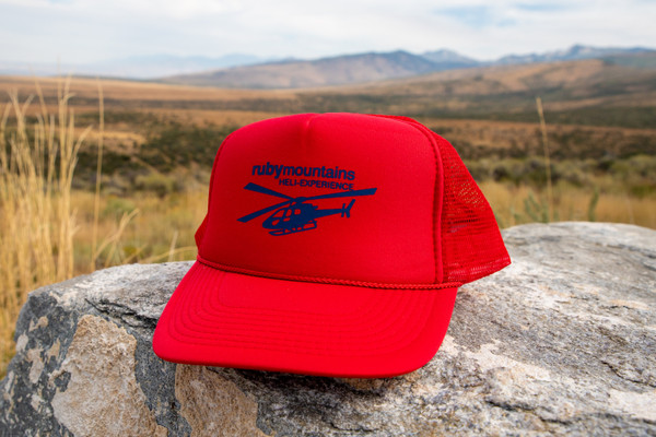Ruby Mountain Heli-Ski Red Trucker hat with Heli logo