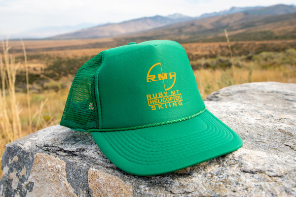Ruby Mountain Heli-Ski Green Trucker Hat with Yellow Logo