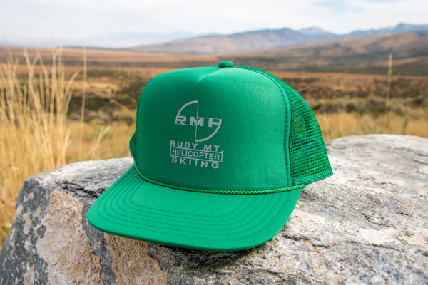 Ruby Mountain Heli-Ski Green Trucker Hat with Grey Logo