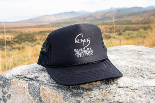 Ruby Mountain Heli-Ski Black Blade logo Trucker Hat