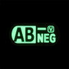 "Blood Type AB- Negative - ""Super-Lumen"" Glow-In-The-Dark Patch"