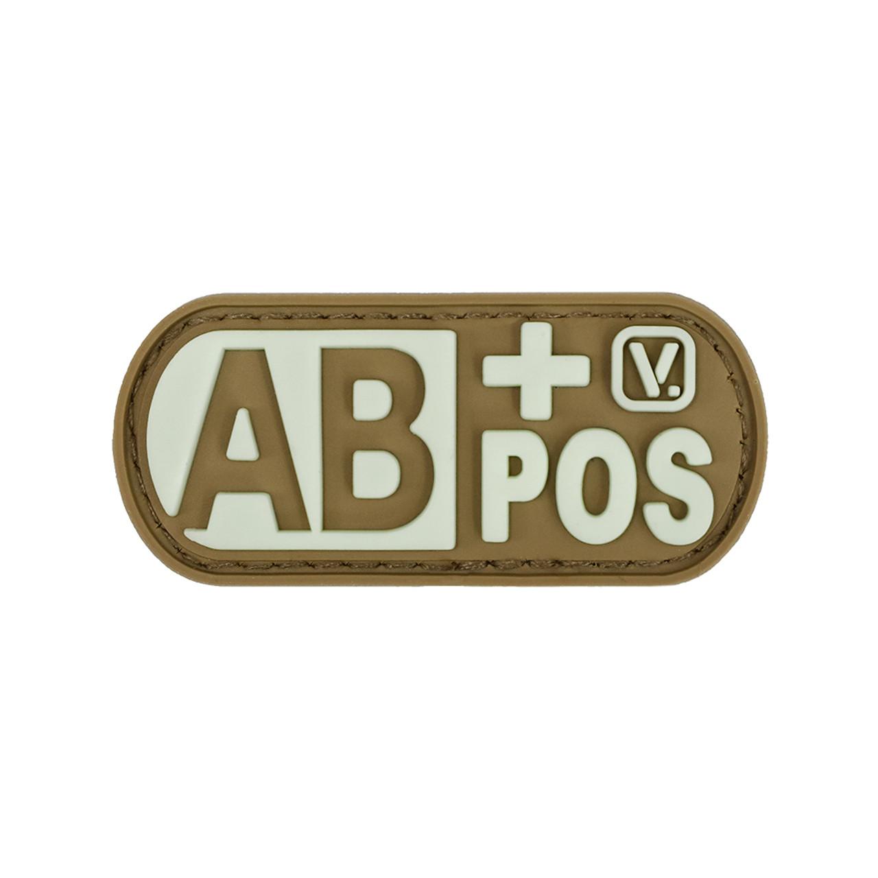 Positive Patch VELCRO BRAND Hook Fasten Black black Medical Alert Blood Type A