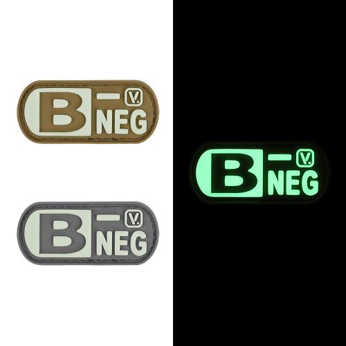 "Blood Type B- Negative - ""Super-Lumen"" Glow-In-The-Dark Patch"