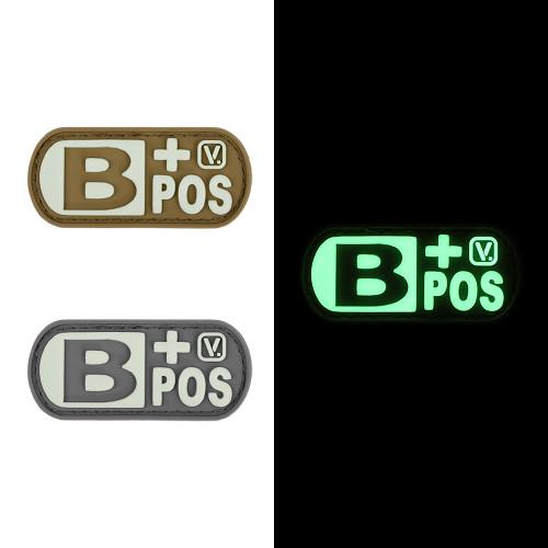 "Blood Type B+ Positive - ""Super-Lumen"" Glow-In-The-Dark Patch"