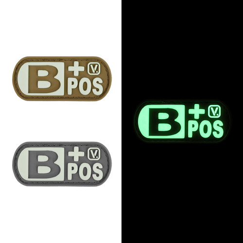 "Blood Type B+ Positive - ""Super-Lumen"" Glow-In-The-Dark Patch"