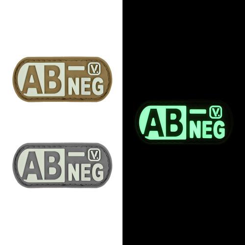 """Blood Type AB- Negative - """"Super-Lumen"""" Glow-In-The-Dark Patch"""