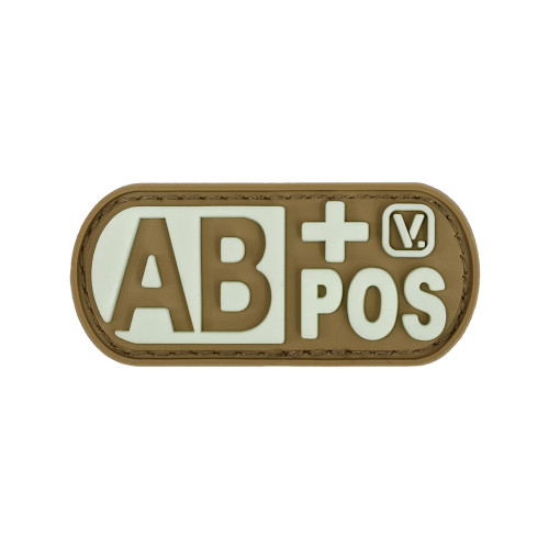 "Blood Type AB+ Positive - ""Super-Lumen"" Glow-In-The-Dark Patch"