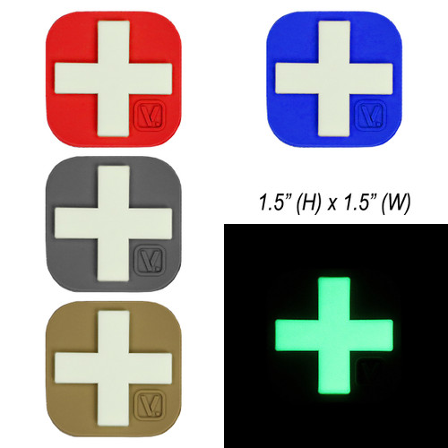 "Medical Cross 1.5"" x 1.5"" (Large) - ""Super-Lumen"" Glow-In-The-Dark Patch"
