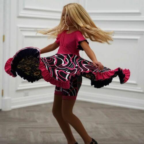 patterned twirling dress