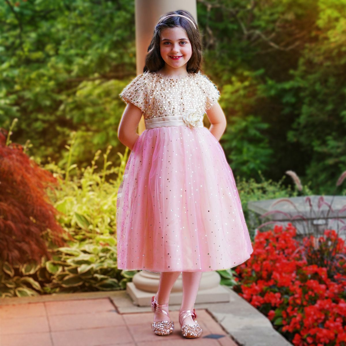 gold and pink Veronica dress