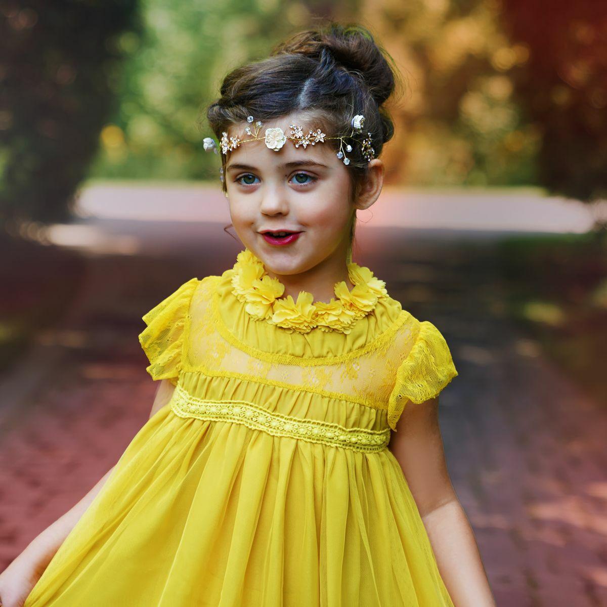 Bella Flora dress in mustard yellow