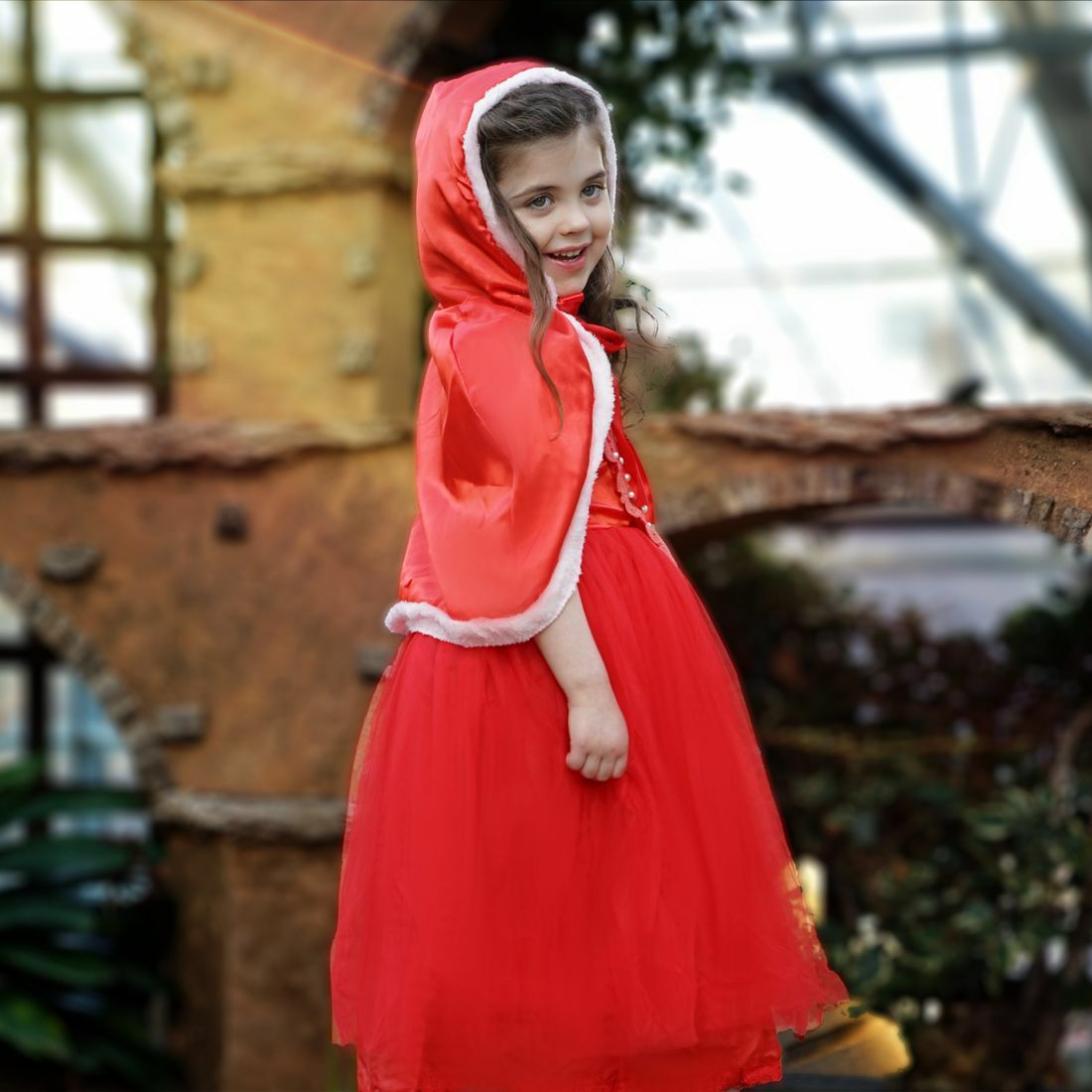 Little girl in a red gown and cape
