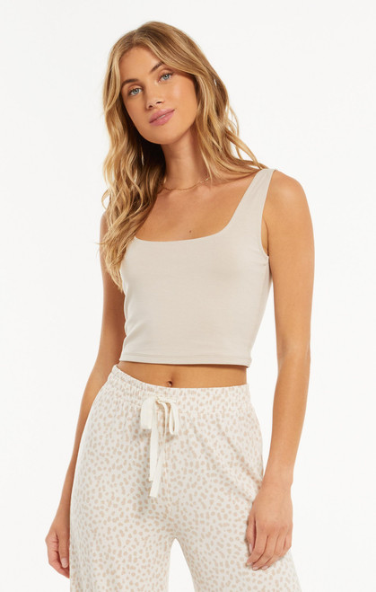 Z Supply Shadow Grey Time Out Crop Tank
