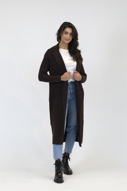Lyla & Luxe Chocolate Jimmi Long Coat W/Pockets
