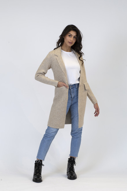Lyla & Luxe Sand Fiona Fitted Knit Coat