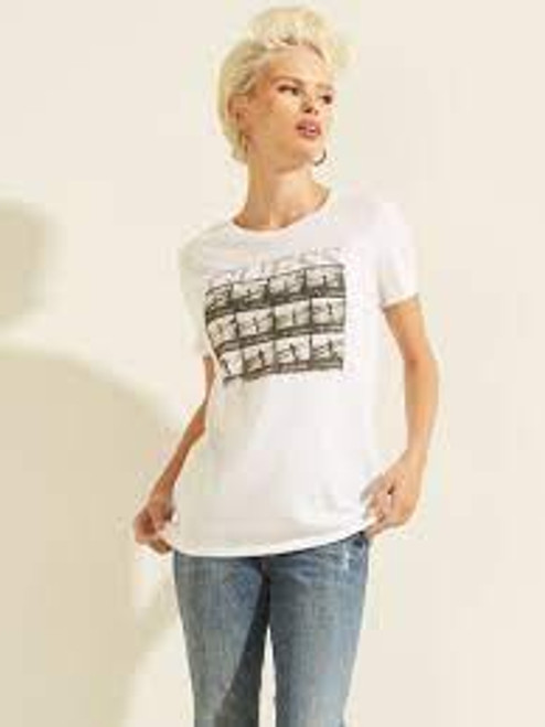 Guess White Film Roll Easy Tee