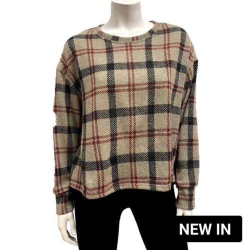 Gilmour Black/Red Plaid Knit Boxy Top