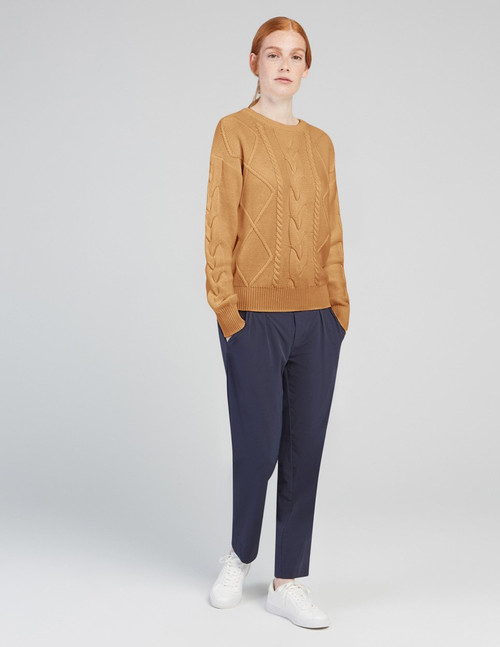 Fig Spiced Honey Esker Cable Sweater