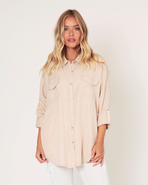 Suzy D Soft Pink Button Back Shirt