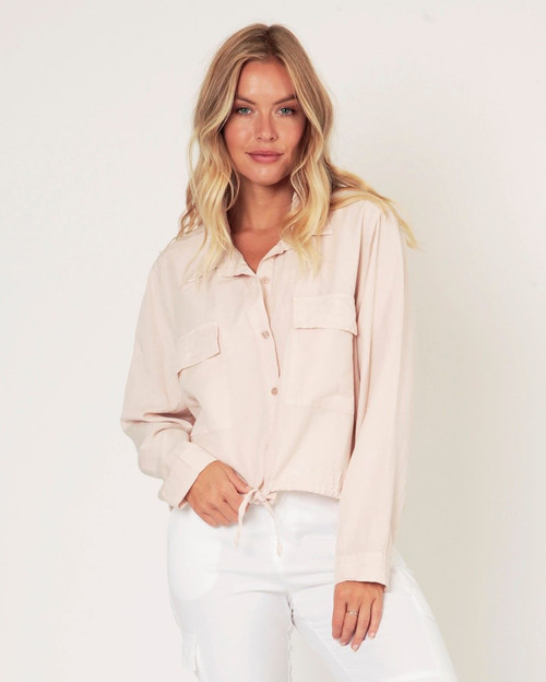 Suzy D Soft Pink Tie Up Shirt