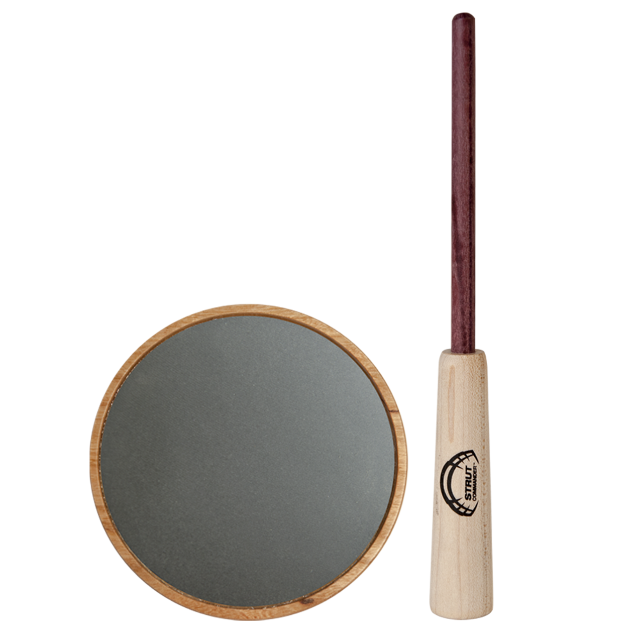 The Ole Scratch Strut Commander pot call features a hand-turned cherry wood pot, a slate surface capable of producing a more mellow, raspy variety of yelps, clucks, cutts, and purrs, and a 2-piece purple heart wood striker.