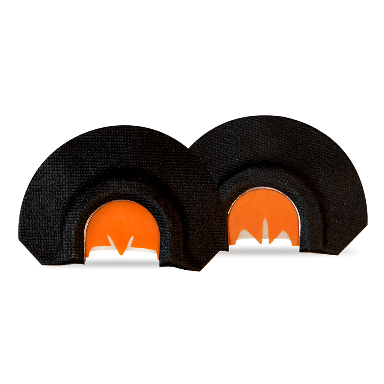 2 pack mouth calls: Medusa and Crazy Ex. Black tape with orange latex, triple reed.