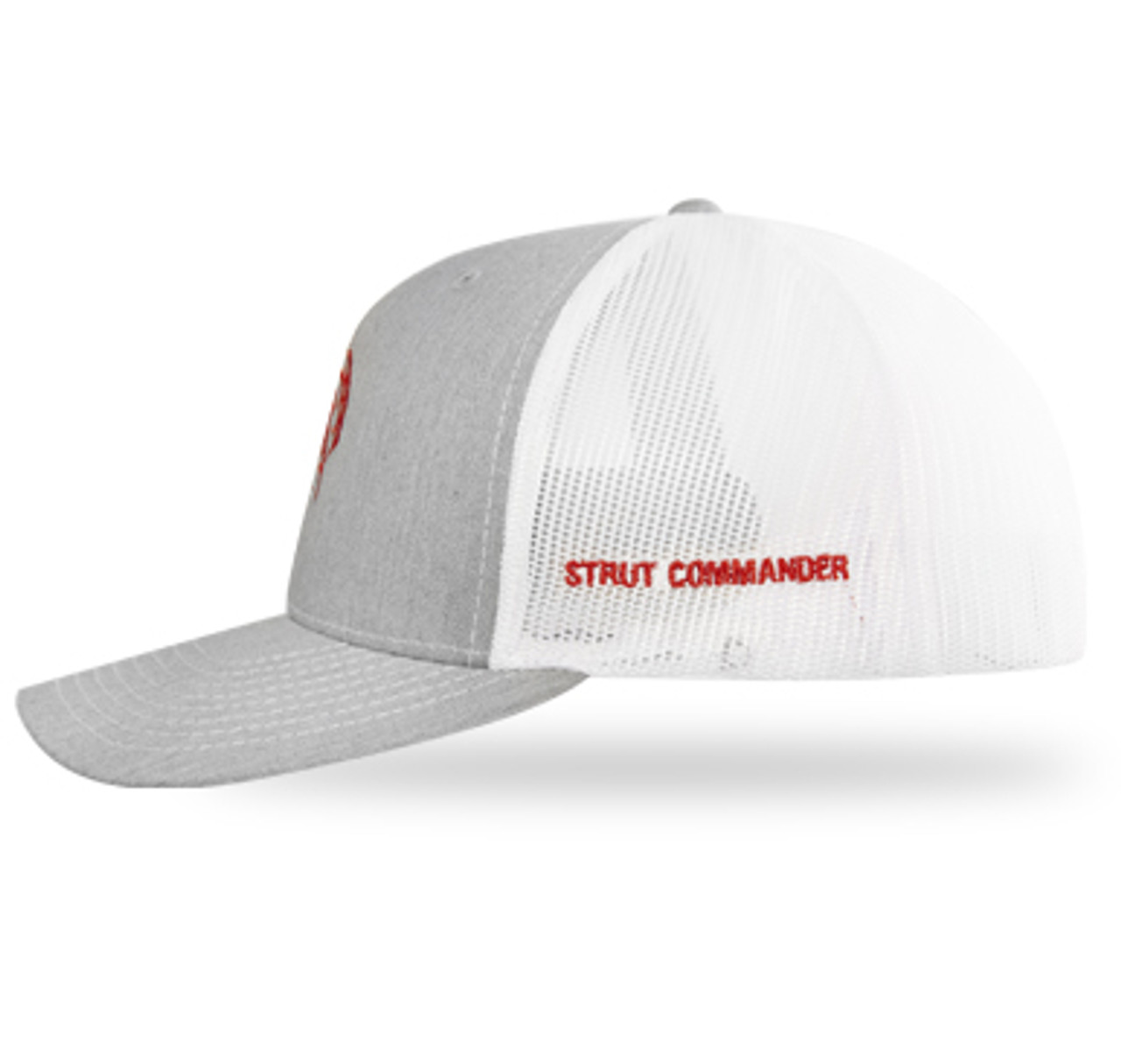 "Heather grey front panels with white mesh back panels and ""Strut Commander"" embroidered in red on the side."