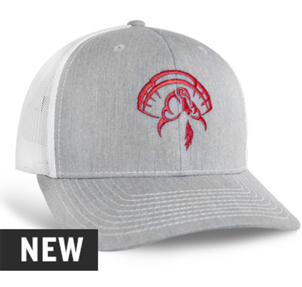 Richardson 112, Color: Heather Grey with White Mesh, Red Embroidered Turkey Logo on front panels, Cotton twill front panels and visor with mesh back panels, ProCrown with buckram-fused front panels and ProStitching, Pre-curved PE visor with eight rows of stitching