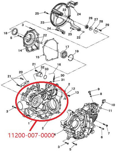 ENGINE CLUTCH SIDE CRANK CASE UTV700 700cc HiSUN BENNCHE MASSIMO COLEMAN  QLINK