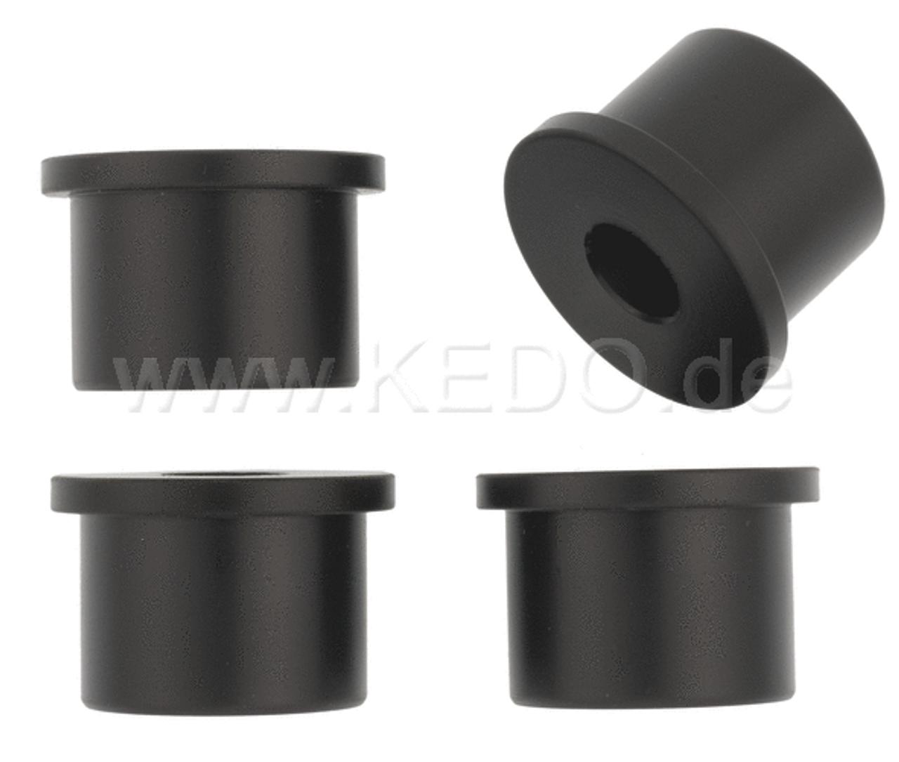 KEDO Top Yoke Bushings (Massive) for Handlebar Clamp, Black Plastic, Set of 4