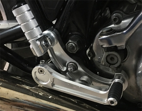 Rearset Footpegs SR400/500, Silver, Drum Brake. Made from Alloy 6061 + 7075 CNC Billet, Can use the original Kick starter