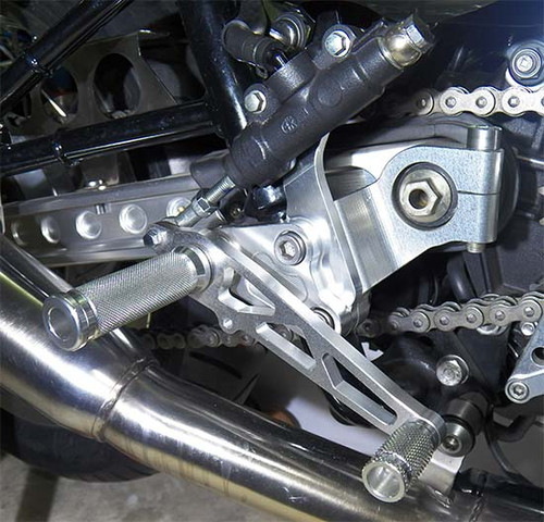 Rearset Controls Thruxton 900, Complete Set with Round Shaped Footpegs