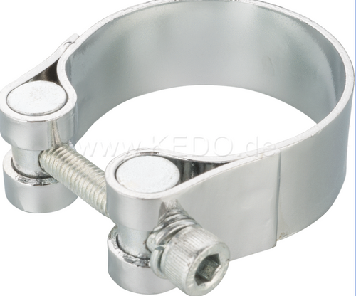 44-47mm Steel Clamp, width 20mm, for e.g. exhaust/silencer, chrome plated