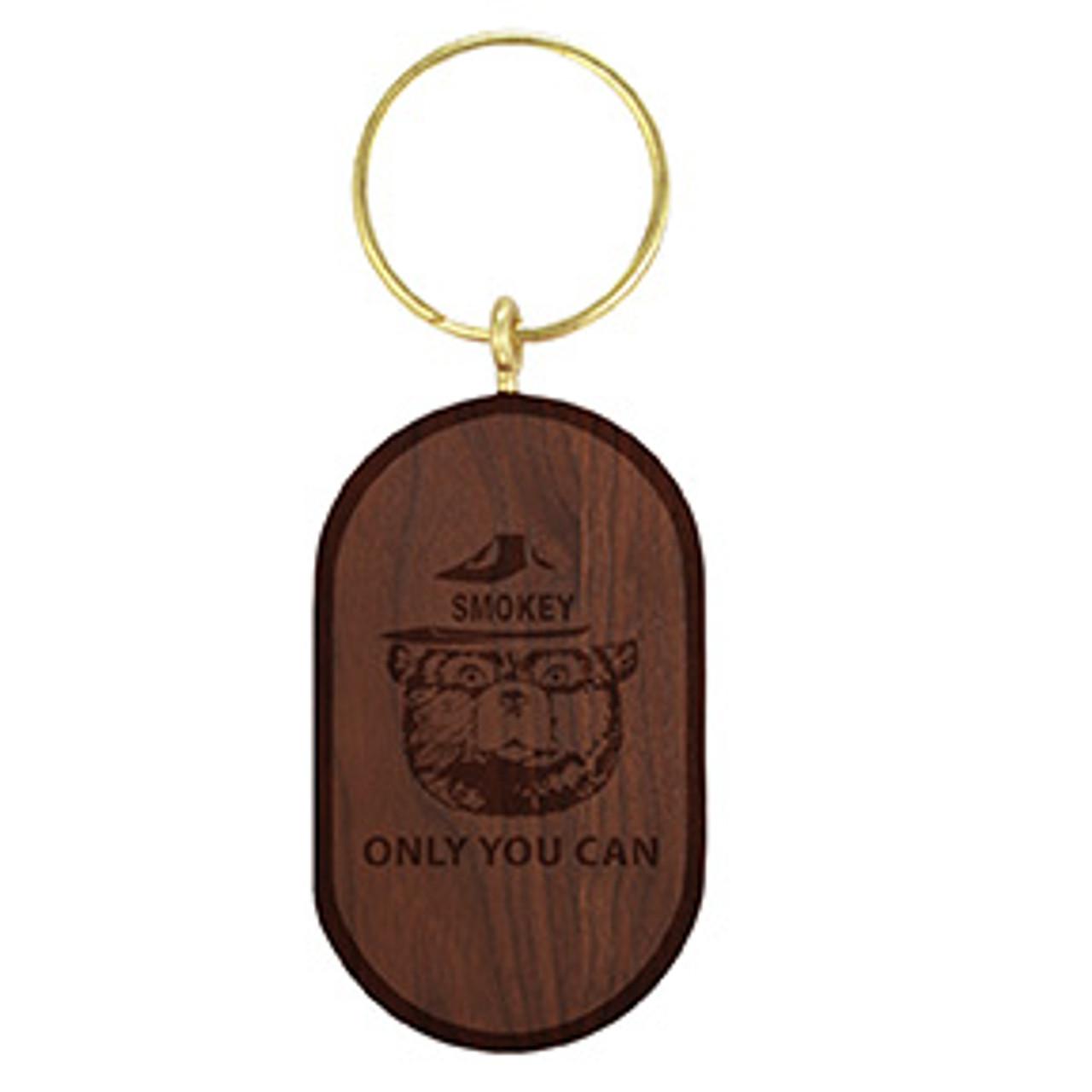 Oval Solid Wood Key Tag - Walnut