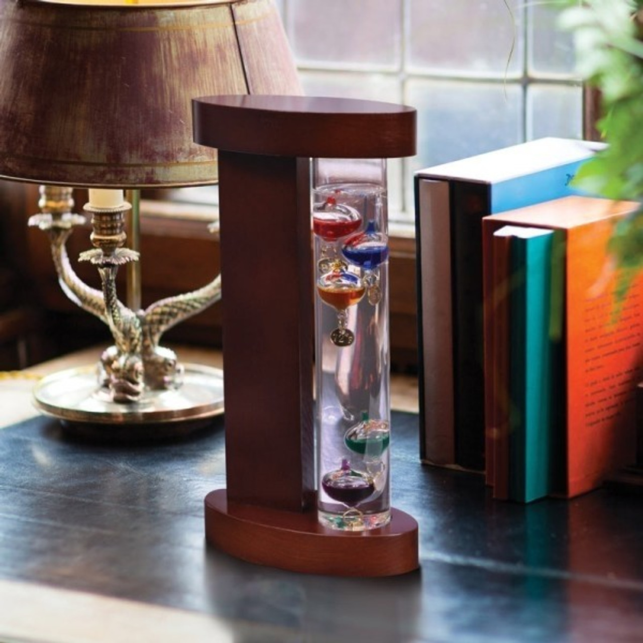 Glass Galileo Thermometer with Wood Stand