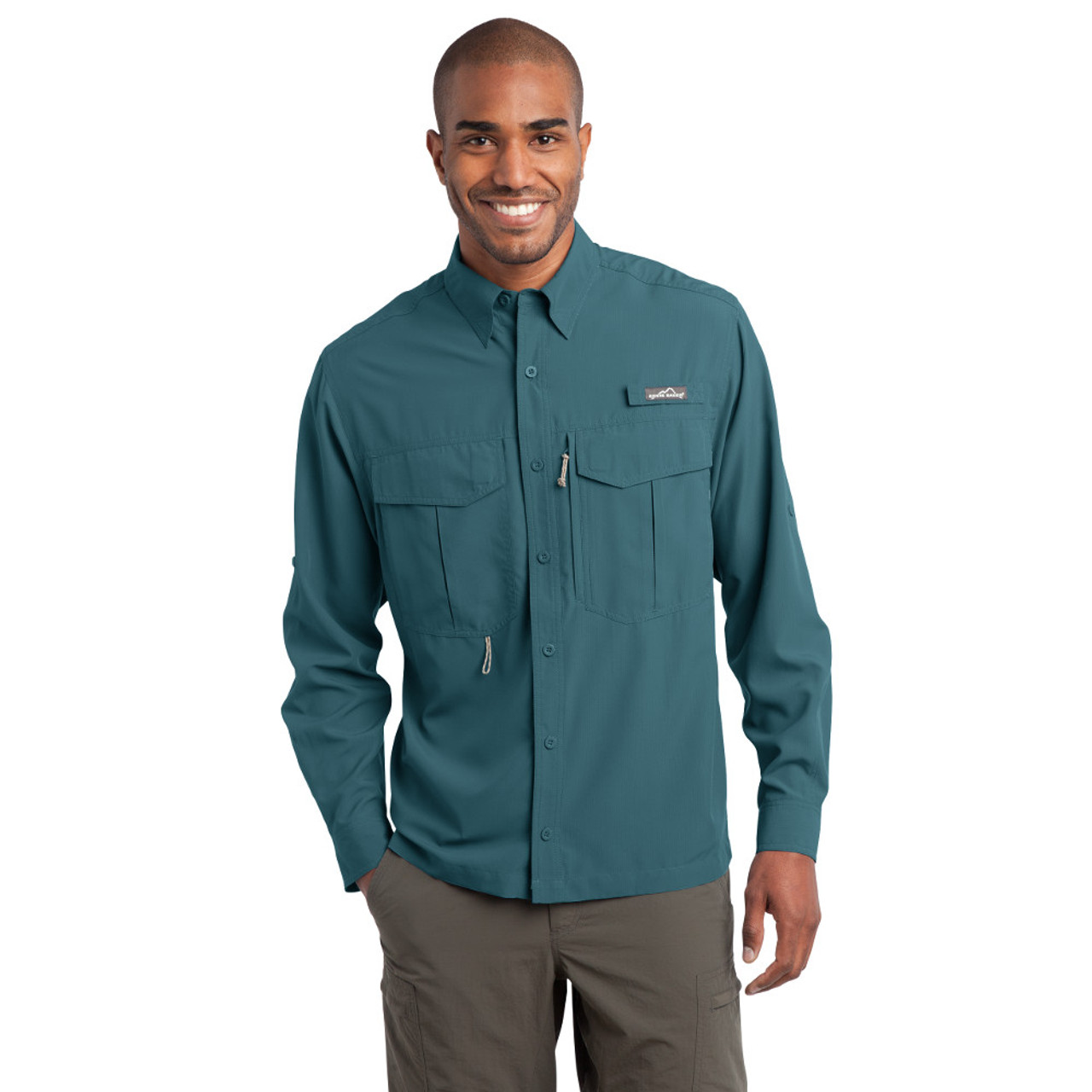 Small BLM GULF TEAL Eddie Bauer® - Long Sleeve Performance Fishing 30% Off