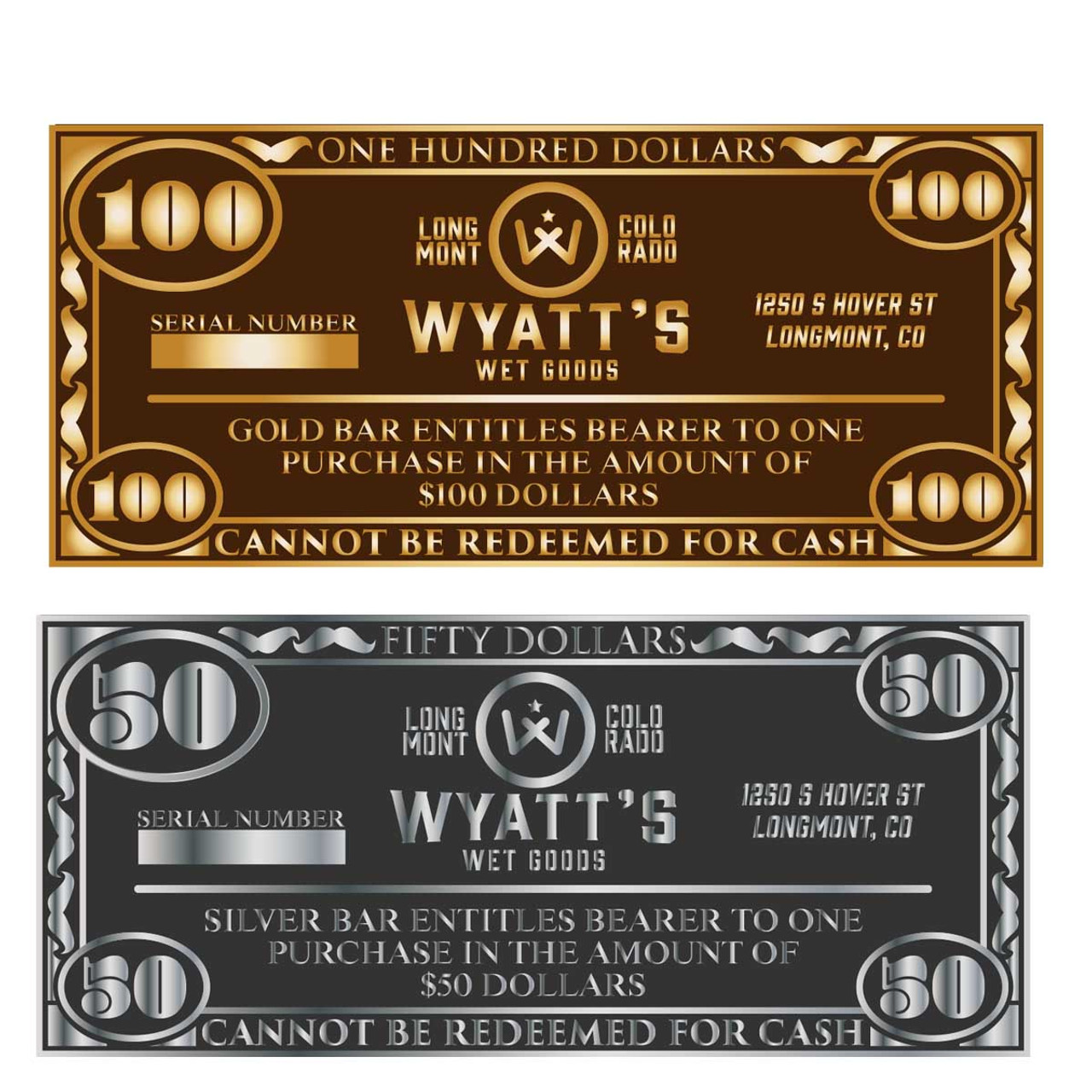 Wyatt's Wet Goods $50 bronze Bar (RESTRICTED)