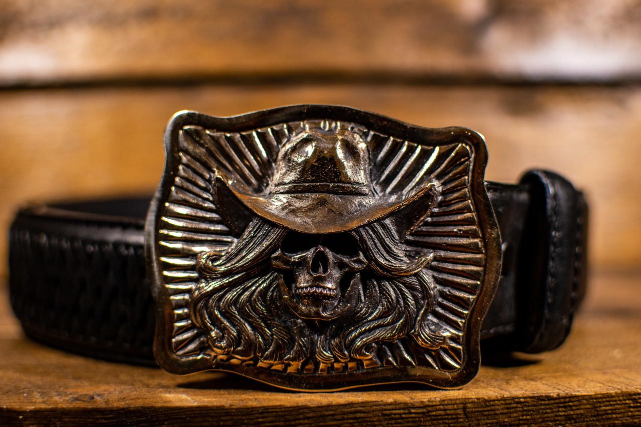 Cowgirl Skull Buckle