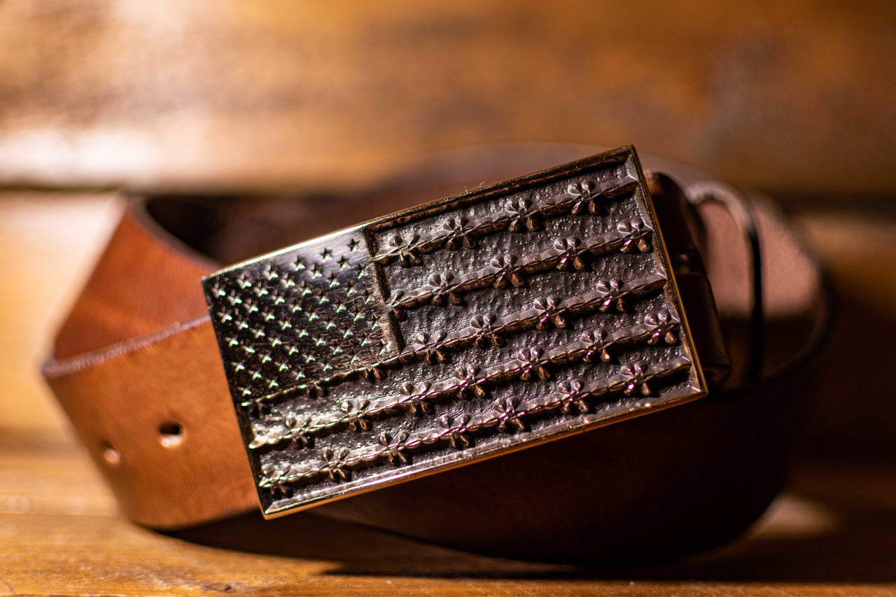 Barbed Wire American Flag Buckle (Proceeds to Ciardullo Ranch)