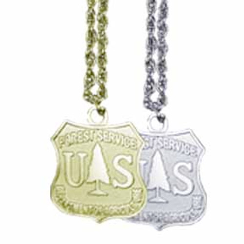 Forest Service Shield Necklace (Silver)