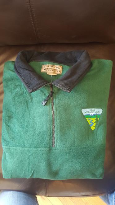 BLM Volunteer - Green 1/4 Zip Fleece Pullover - XL