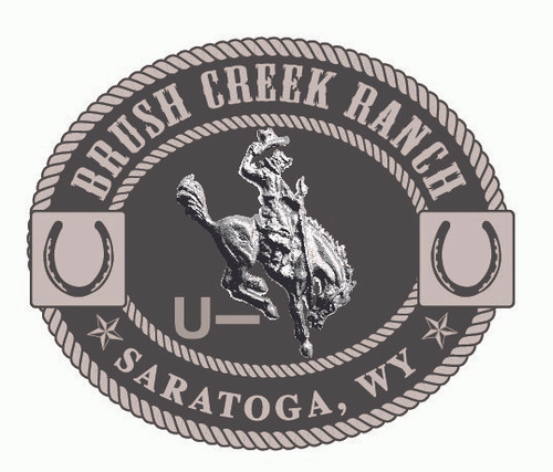Brush Creek Ranch Buckle (horse & rider WITH BRAND) (RESTRICTED)