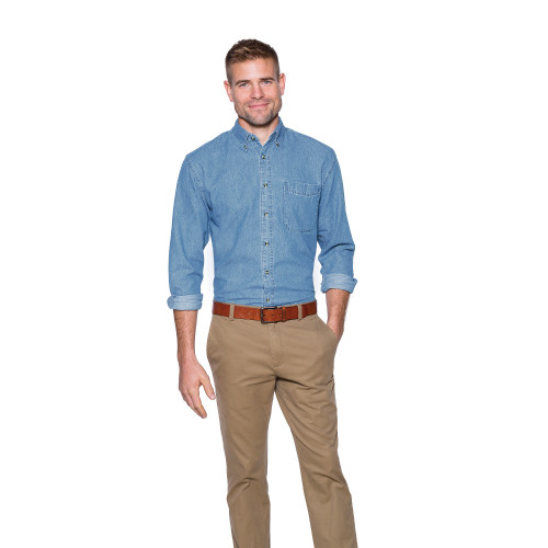 XL BLM Men's Long Sleeved Light Denim Shirt 30% Off